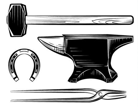 Vector set van ambachtelijke smid aambeeld, hamer, scharen op wit
