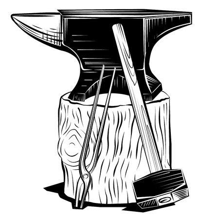 Vector blacksmith anvil on a stump with hummer and pincers