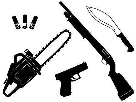 gangster background: Vector et of gangster criminal weapons and anti zombie apocalypse on white background