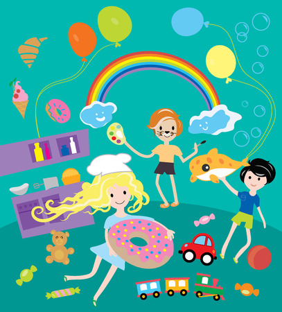Kids party with toys and food festival vector illustration Vector