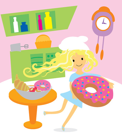 Girl cooking sweets and desserts for the holiday on kitchen vector illustration Vector