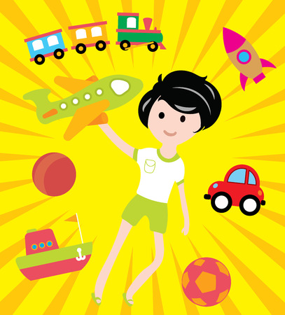 Kids dreams with many toys and transport vector illustration