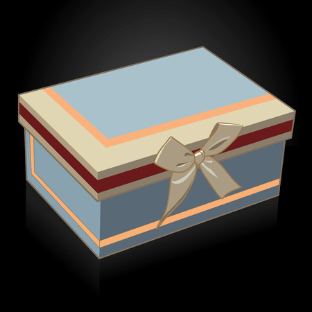 Beautiful gift box with a bow on a black background vector illustration