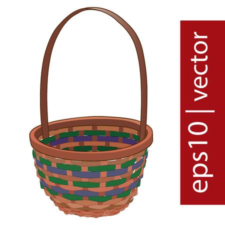 wickerwork: Brown vector Easter wicker basket handmade with frame on white background