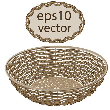 Hellbraun Vektor Runde Weidenkorb mit handgemachten Rahmen auf weißem Hintergrund Standard-Bild - 41609762