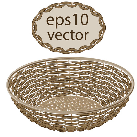 basket: Light brown vector round wicker basket handmade with frame on white background