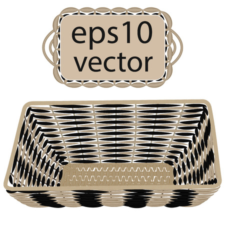 rattan: Gray vector wicker basket handmade with frame on white background