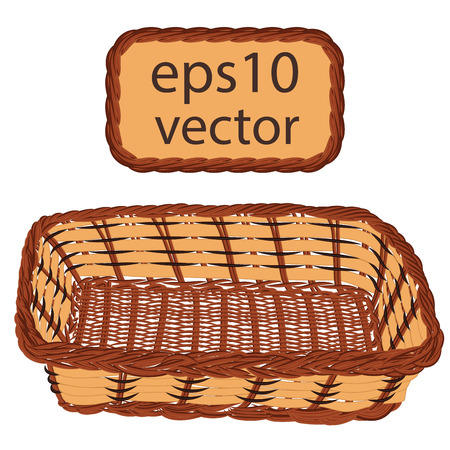 Brown vector wicker basket handmade with frame on white background