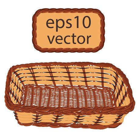 wickerwork: Brown vector wicker basket handmade with frame on white background