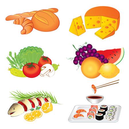 soy sauce: Set of vector various tasty food on white background illustration Illustration