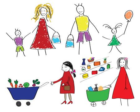 Kinderen tekeningen met de familie en het kind met voedsel in de supermarkt vector illustratie