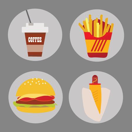 comida rapida: Conjunto de iconos de comida rápida de hamburguesas de patata perro caliente en una ilustración de fondo vector