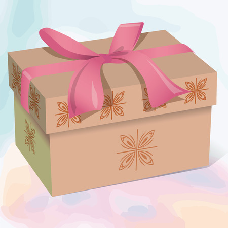 Beige beautiful gift box with a pink bow vector illustration Illustration