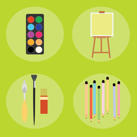 creation of sites: Set of artist pencils paint brush canvas palette knife vector illustration