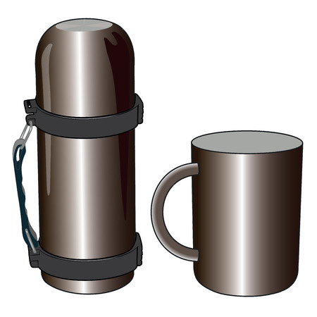thermos: Iron and steel thermos mug for picnic vector illustration