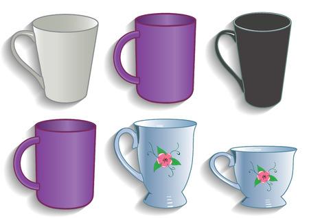 Mok cup voor thee en koffie service keuken vector illustratie