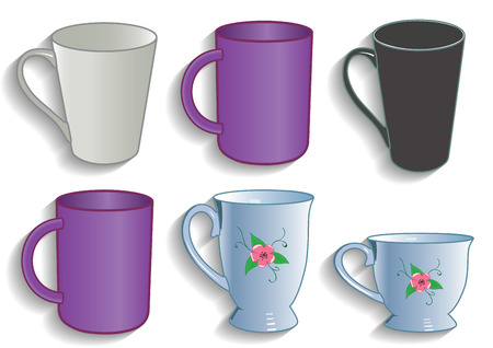 Mug cup for tea and coffee service kitchen vector illustration