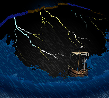 nautic: Ship in the storm on the waves in the sea and lightning vector illustration Illustration