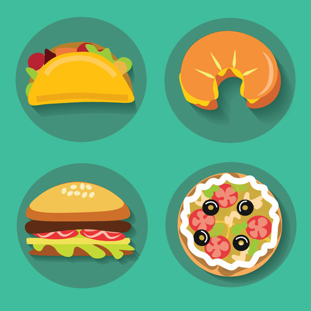 food dish: Set of icons fast food pizza croissant burger burrito on a background vector illustration