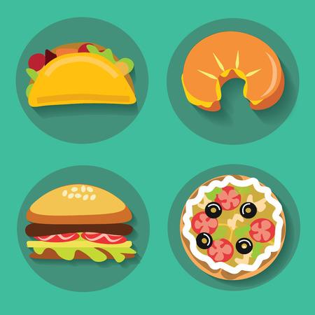 Set van pictogrammen fast food pizza croissant hamburger burrito op een achtergrond vector illustratie Stock Illustratie