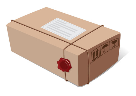 sealing wax: Box post package with a wax seal and icons vector illustration