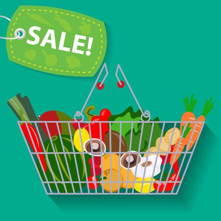 野菜販売ベクトル図のスーパー マーケット バスケット  イラスト・ベクター素材