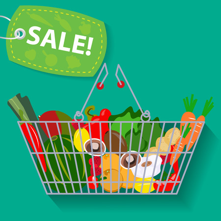 Supermarket basket of vegetables sale vector illustration