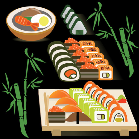 egg roll: Set of Japanese rolls on a board and miso soup on bamboo black background vector illustration