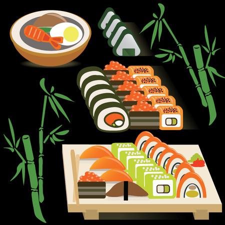 Set van Japanse rollen op een bord en miso soep op bamboe zwarte achtergrond vector illustratie