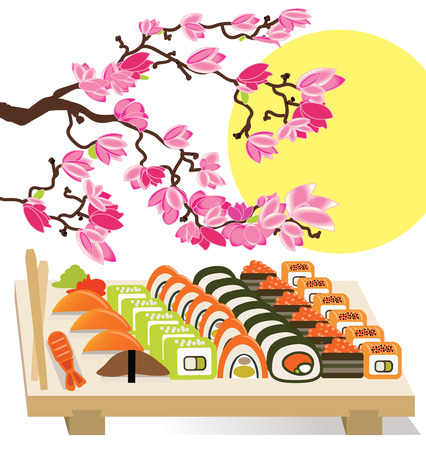 Beautiful set of Sushi Japanese food under the cherry trees vector illustration Иллюстрация