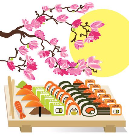 Beautiful set of Sushi Japanese food under the cherry trees vector illustration Illustration