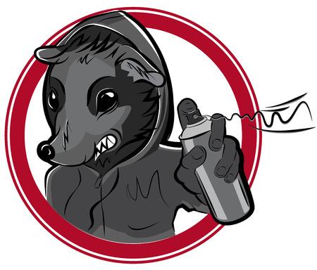 rata caricatura: Insignia del vector con el hombre de la rata de graffiti ilustraci�n Vectores