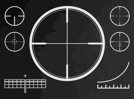 fernrohr: Teleskop, Sicht, Kreuz des Scharfschützengewehr unterwegs oder Drohne vector illustation Illustration