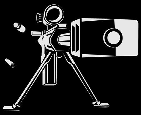Vector illustration with directional sniper gun on the black background Illustration