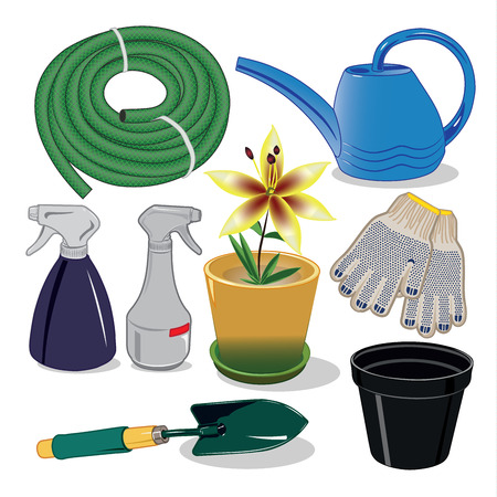 bailer: Care of plants for the garden and country houses vector illustration