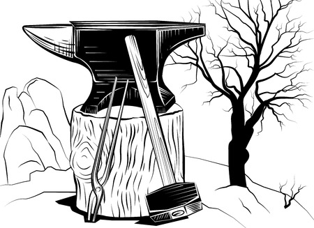 sledgehammer: Vector illustration with a sledge hammer and an anvil on a tree stump on a background of dead tree