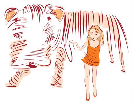Meisje lopen met een grote hond aangelijnd vectorillustratie