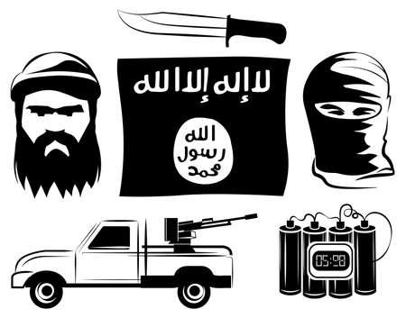 Set van Isil extremisten vlag, tijdbom, pistool, mes vector Stock Illustratie