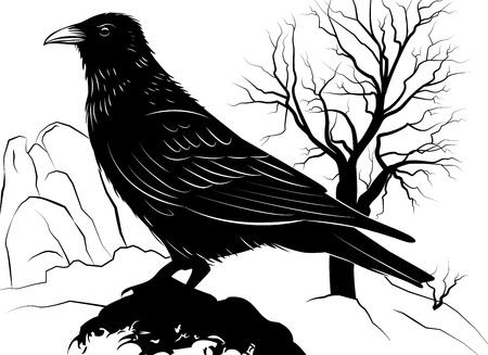 Vector illustration with Raven on a rock on a background of dead tree