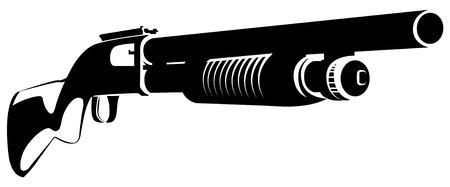 白い背景に分離された散弾銃で黒と白のベクトル図