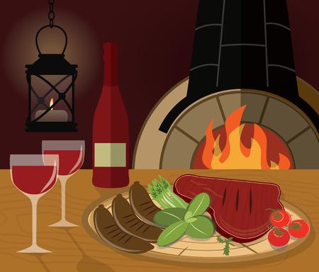 carnes: Cena romántica con un bistec a la parrilla, verduras y el vino en la ilustración vectorial restaurante