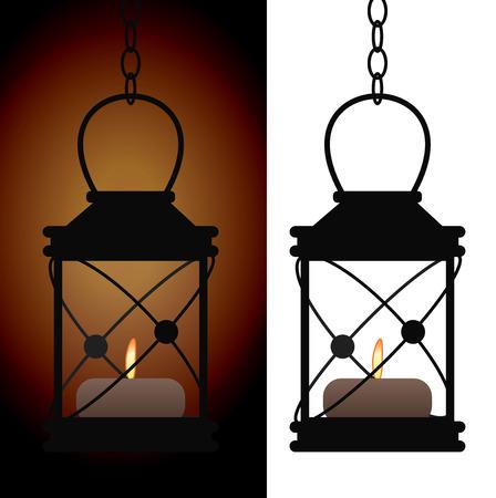 Old iron antique lantern lamp vector illustration Stock Illustratie