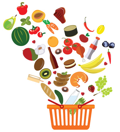 abundance: basket with an abundance of supermarket products vector illustration