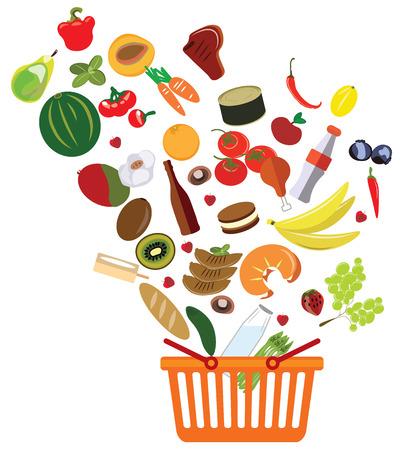 canastas con frutas: canasta con una abundancia de supermercado ilustración vectorial productos