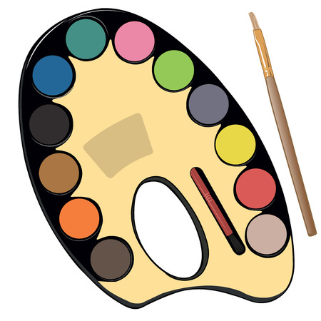 school kit: School paint kit for artist with paints, pencils and brushes vector illustration