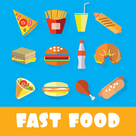 fried chicken: Set of fast food in the style of flat art vector illustration