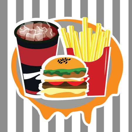Beautiful set of fast food advertising menu vector illustration