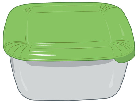 plastic box: Plastic box for storage of products isolated vector illustration