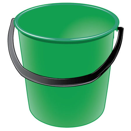 Green plastic bucket with a black handle vector illustration