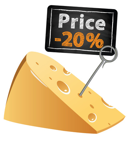 low price: Cheese with a price tag sale at a low price at market vector illustration